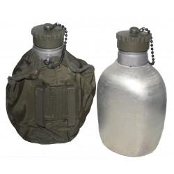 Österr. Armee Feldflasche (alu) mit Bezug oliv (gebr.)